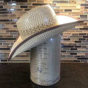 American Hat Company tan straw leather cowboy hat